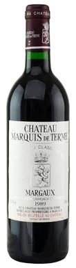 Château Marquis de Terme, Margaux, 4ème Cru Classé, 1989