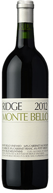 Ridge Vineyards, Santa Cruz Mountains, Monte Bello, 2012