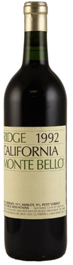 Ridge Vineyards, Santa Cruz Mountains, Monte Bello, 1992